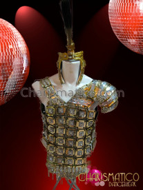 CHARISMATICO Mens Silver and Rhinestone Studded Golden Warrior's Armor with Mohawk Headdress