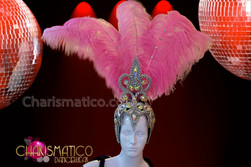 CHARISMATICO Silver Beaded And Iridescent Rhinestone Accented Pink Ostrich Showgirl Headdress