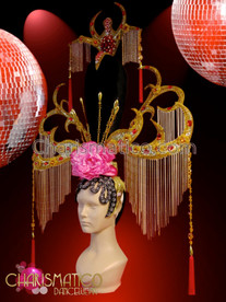 CHARISMATICO Red Tasseled Gold Beaded Chinese Oriental Headdress With Pink Peonies