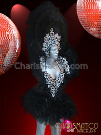 CHARISMATICO Floral Silver Sequin Beaded Black Feather Showgirl Diva Costume Set