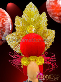 CHARISMATICO Showgirl's Iridescent Crystal Studded Gold Leaf With Red Diva Headdress