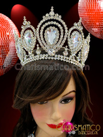 CHARISMATICO Diva's Classic Iridescent Rhinestone Adorned Shimmering Crystal Tiara Crown Headdress
