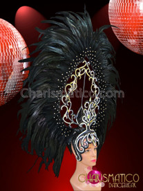 CHARISMATICO Large Openwork Swirl Iridescent Crystal Dotted Black Feather Diva Headdress