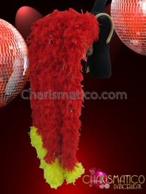 CHARISMATICO Diva's Stunning Yellow Tipped Bright Red Feather Boa Cabaret Backpack