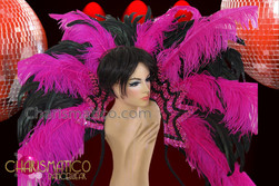 CHARISMATICO Geometric Vivid Fuchsia and Black Beaded Ostrich Feather Collar Backpack