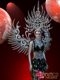 CHARISMATICO Silver and Black Diva Showgirl Costume Headdress, Wing, and Dress Set