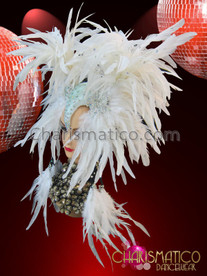 CHARISMATICO Diva's Exotic Wild Iridescent Rhinestone Accented Snow White Feather Headdress