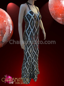 CHARISMATICO Sleek White Net Patterned Black and Silver Sequined Pageant Gown