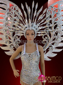CHARISMATICO Fancy Showgirl's Silver Sequined Leotard, Headdress and Costume Wing Set