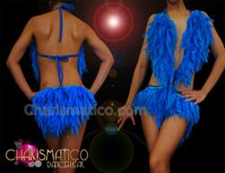 CHARISMATICO Intense Royal Blue Feather Halter Style Latin Dance Leotard Dress