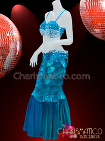 CHARISMATICO Sky Blue Satin Pleated Scaled Bra and Matching Mermaid Skirt
