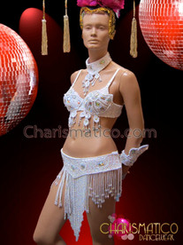 CHARISMATICO Rio Carnival Style Crystal Accented White Beaded Bra With Matching Belt
