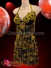 CHARISMATICO Gold Bead Accented Black Sequin Two Piece Latin Dance Dress