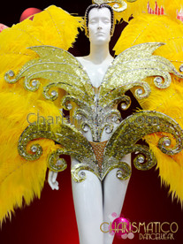 CHARISMATICO Vibrant Crystal Accented Yellow Ostrich Plume Golden Glitter Cabaret Dress Costume