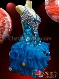 CHARISMATICO Crystal Accented Sky Blue Sequin Organza Ruffled Fluffy Dance Dress