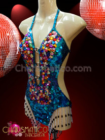 CHARISMATICO Sexy Multi-Color Crystal Accented Sky Blue Sequined Latin Dance Leotard
