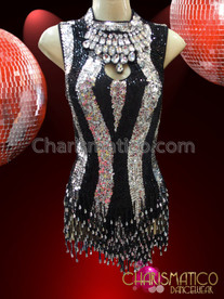 CHARISMATICO Black and Silver Stripe Sequin Dress With Beaded Fringe Skirt