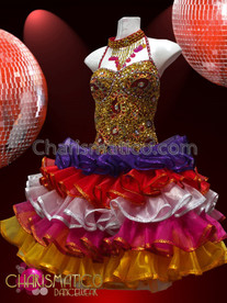 CHARISMATICO Fluffy Sweet Ornate Gold Beaded Rainbow Organza Ruffle Sissy Dress