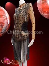 CHARISMATICO Nude Based Black Sequin Accented Beaded Fringe Latin Dance Dress
