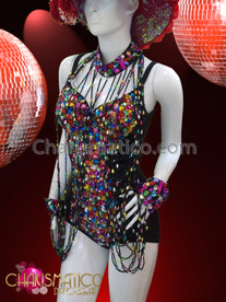 CHARISMATICO Showgirl's Multi-Color Sequined Leotard and Matching Bead Dangle Slave Necklace