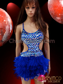 CHARISMATICO Sexy Silver Sequin Accented Royal Blue Feather Latin Dance Dress