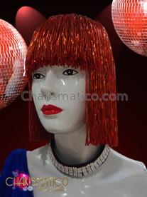 CHARISMATICO Cute Blunt Cut Fiery Red Seed Beaded Long Bob Wig