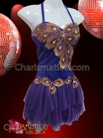 CHARISMATICO Rich Purple Copper Peacock Accented Diva Dress With Ruffled Skirt