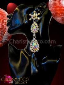 Charismatico Fiery Rhinestone Star Double Iridescent Teardrop Crystal Fall Diva Earrings