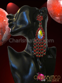 CHARISMATICO Ruby Red Rhinestone Cluster Teardrop Crystal Drag Queen's Chandelier Earrings