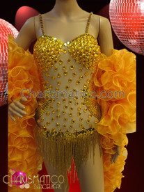 CHARISMATICO Sheer Amber Decorated Beaded Fringe Leotard and Golden Organza Boa