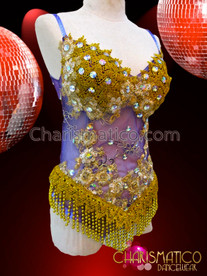 CHARISMATICO Sheer Purple Based Golden Appliqué Crystal Accented Leotard With Fringe