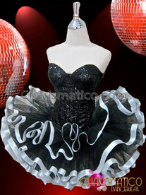 CHARISMATICO Simple Black Glitter Back Lace Corset and Silver Edged Tutu