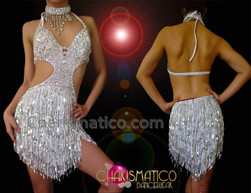 CHARISMATICO Diva's Sexy Side Cutout Silver Sequin Fringed Latin Dance Dress