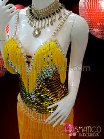 CHARISMATICO Silver and Gold Sequined Halter-Style Yellow Fringe Latin Salsa Pants
