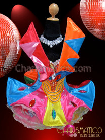 CHARISMATICO Gay Pride Crystal Accented Satin Patchwork Rainbow Ruffle Dolly Dress