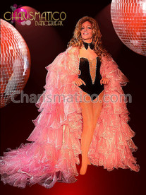 PINK Organza CABARET MAGIC Drag queen Ruffle WING Coat