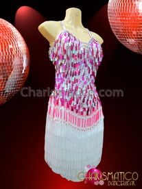 CHARISMATICO Hot Pink And White Teardrop Sequin Fringed Latin Dance Dress