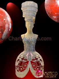 CHARISMATICO Silver Leotard, Cage Skirt and Chandelier Styled Headdress Costume Set