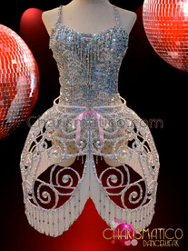 CHARISMATICO Silver Sequin Dance Leotard With Openwork Silver Beaded Cage Skirt