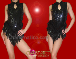 CHARISMATICO Slinky Metallic Sequined Black Raven Feather Keyhole Neckline Dance Leotard
