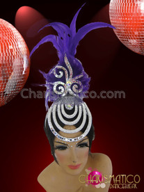 CHARISMATICO Diva's Silver Mirror Tile Accented Cap Purple Feather Cabaret Headdress