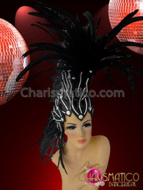 CHARISMATICO Mirror Tile and Crystal Embellished Black Feather Mohawk Diva Headdress