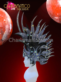 CHARISMATICO Silvery Gray and Black Flame Styled Drag Queen Mohawk Headdress