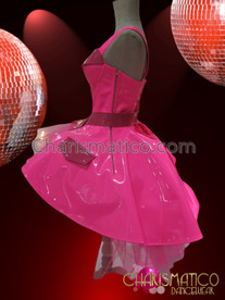CHARISMATICO Red Accented Hot Pink PVC Dollie Dress With Mesh Underskirt