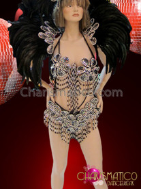CHARISMATICO Silver Accented Black Feather Flower Patterned Brazil Rio Carnival Set