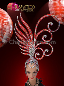 CHARISMATICO Iridescent Crystal Accented Asymmetrical Red Glitter Burlesque Diva Showgirl Headdress