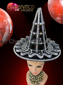 CHARISMATICO Diva's Silver and Iridescent Crystal Accented Black Cone Hat Headdress