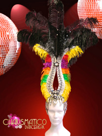 CHARISMATICO Silver Accented Gay Pride Rainbow Colored Black Ostrich Feather Headdress