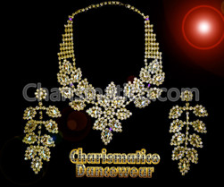Divine Divas QUEEN Pageant LEAF Jewelry Necklace and Earrings AB
