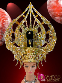CHARISMATICO Ruby Amber Crystal Accented Gold Glitter Diva Showgirl Arrowhead Headdress